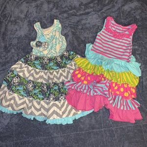 Two Mustard Pie Dresses Pink & Blue